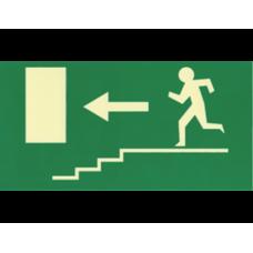Σήμανση κατεύθυνσης φωσφοριζέ σκάλες (L) 27X14cm