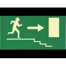 Σήμανση κατεύθυνσης φωσφοριζέ σκάλες (R) 27X14cm